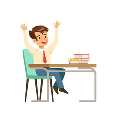 smiling boy character in school uniform sitting at vector image vector image