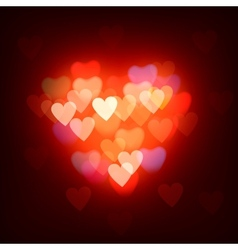 Blurred defocused lights background with hearts vector image vector image