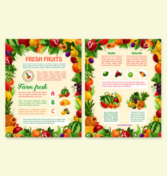 Brochure of tropical exotic fruits vector