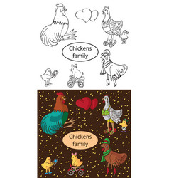 fashionable family chickens and cock vector image vector image
