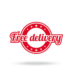 free delivery label red color isolated on white vector image