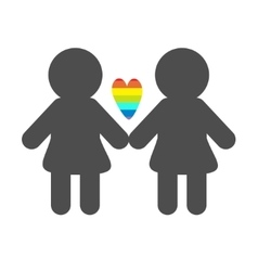 Gay marriage Pride symbol Two woman silhouette vector image vector image