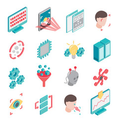 neural network icon set vector image vector image