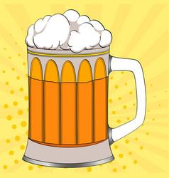 pop art beer in a glass mug color background vector image vector image