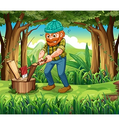 A hardworking woodman at the forest vector
