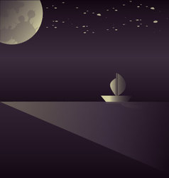 A sailboat in the moonlight vector image