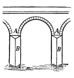 Abutment architecture vintage engraving vector