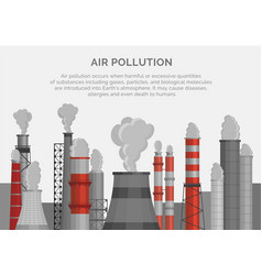Air pollution poster banner smoke emissions vector