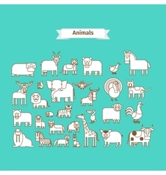 Animals line art icons vector