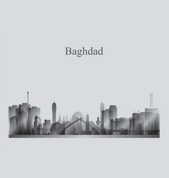 baghdad city skyline silhouette in grayscale vector image