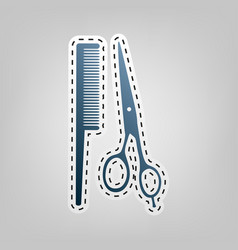 barber shop sign blue icon with outline vector image
