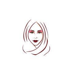 beautiful stylish hijab girl logo vector image