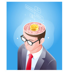 brain maze with gold coin in businessman head vector image