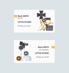 Business cards with cinema filming tools vector