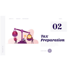 business taxation landing page template vector image