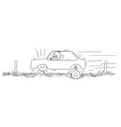 Cartoon driver driving car on very bad road vector