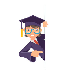 Cartoon graduate boy look out corner promotion vector