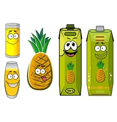 Cartoon pineapple fruit juice packs and glasses vector image