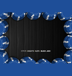 casino chips on a black background top view of vector image
