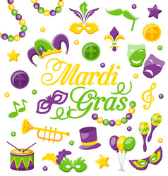 Celebration background with set mardi gras and vector