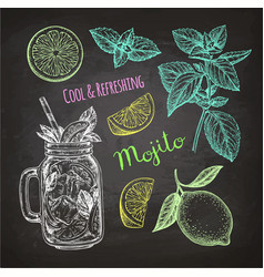 chalk sketch of mojito vector image