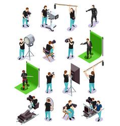 cinematograph isometric icons set vector image
