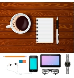 Coffee and notepad on wooden table composition vector