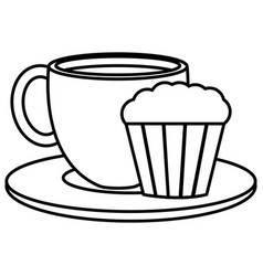 coffee cup hot with cake vector image