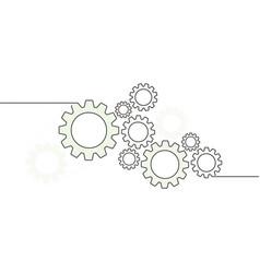 cogwheels gear wheel mechanisms with lines vector image