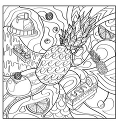 coloring coloring page fruits cakes pattern vector image