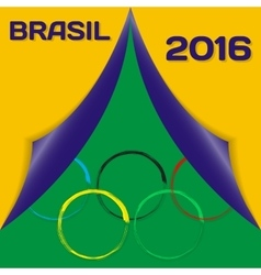 Colors of flag brazil and sign of olympics with vector