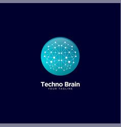 Creative brain technology logo design vector
