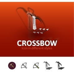Crossbow icon in different style vector image