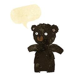 Cute cartoon black bear with speech bubble vector
