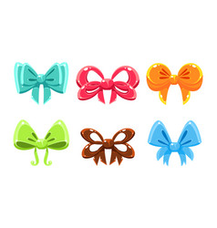 Cute glossy bows of different colors user vector