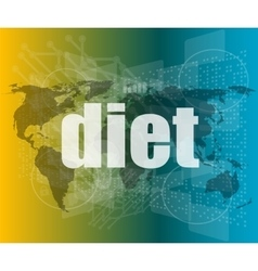 Diet word on digital touch screen quotation vector
