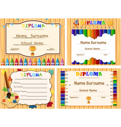 Diploma templates with wooden board and color vector