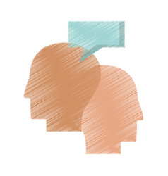 Drawing profile heads talking vector