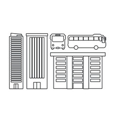 drawings buildings bus sketch vector image