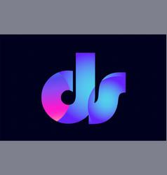 Ds d s spink blue gradient alphabet letter vector