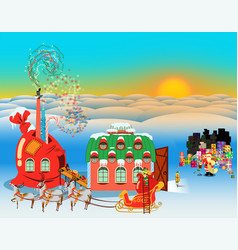elf gift factory day vector image