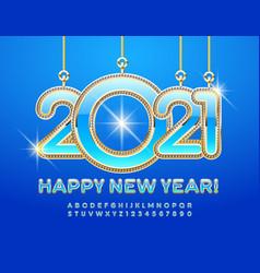 elite card happy new year 2021 luxury alphabet vector image