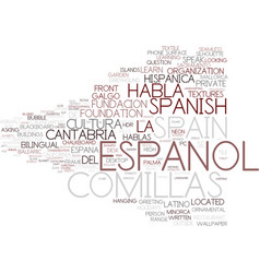Espanol word cloud concept vector