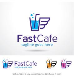 Fast cafe logo template design vector