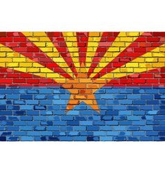Flag of Arizona on a brick wall vector image vector image