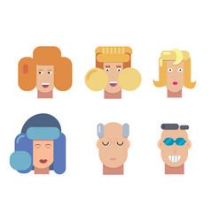 flat characters portrait set vector image