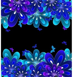 Flower blue on black background vector