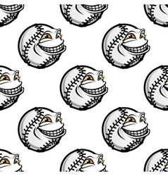 Funny cartoon baseball ball pattern vector image