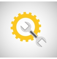 Gear construction wrench tool icon desing vector