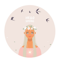 girl spring vector image